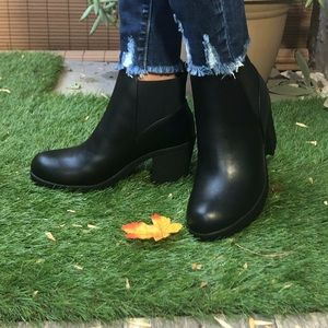 Black faux leather ankle booties